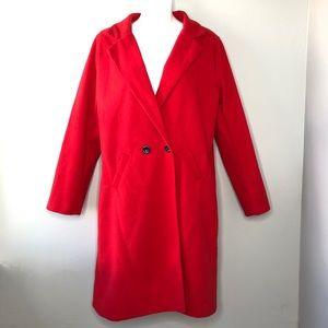 Red Button Front Peacoat Size XXL
